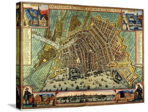 Map of Amsterdam 1633-Gerardus Mercator-Stretched Canvas Print