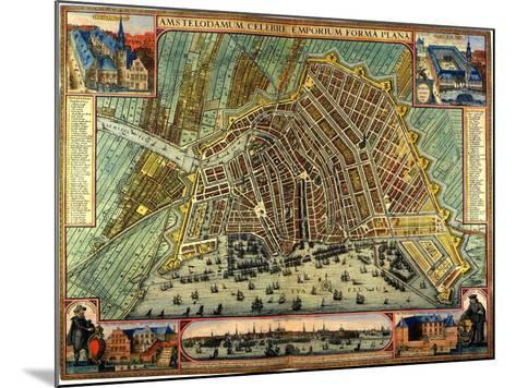 Map of Amsterdam 1633-Gerardus Mercator-Mounted Giclee Print