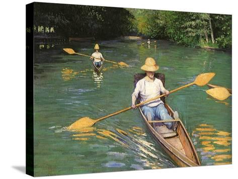 Men Sculling, 1877-Gustave Caillebotte-Stretched Canvas Print