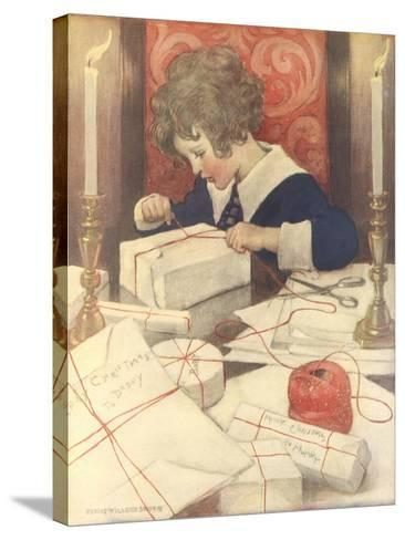 Child Wrapping Presents-Jessie Willcox-Smith-Stretched Canvas Print