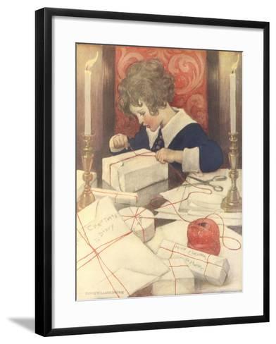 Child Wrapping Presents-Jessie Willcox-Smith-Framed Art Print