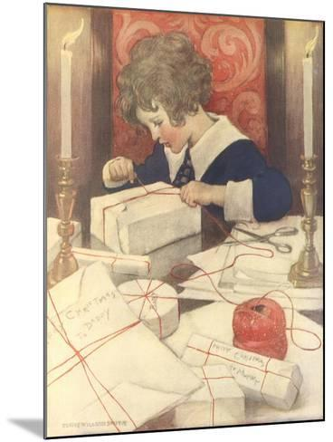 Child Wrapping Presents-Jessie Willcox-Smith-Mounted Giclee Print