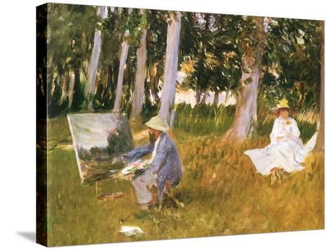 Monet Painting Woods, 1888-John Singer Sargent-Stretched Canvas Print