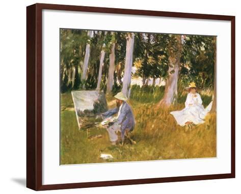 Monet Painting Woods, 1888-John Singer Sargent-Framed Art Print