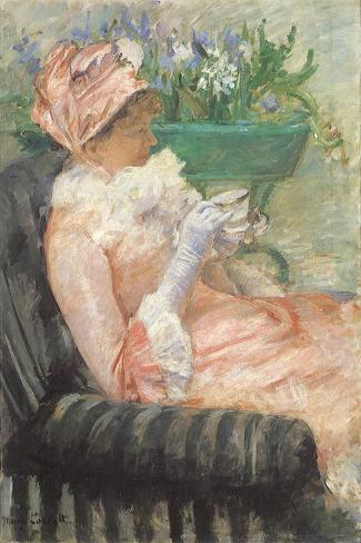 Sipping Tea on Loveseat, 1879-Mary Cassatt-Stretched Canvas Print