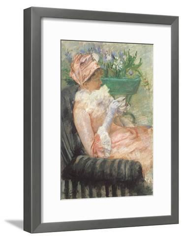 Sipping Tea on Loveseat, 1879-Mary Cassatt-Framed Art Print