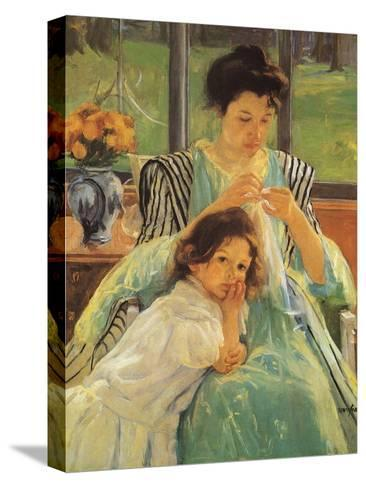 Young Mother Sewing, 1900-Mary Cassatt-Stretched Canvas Print