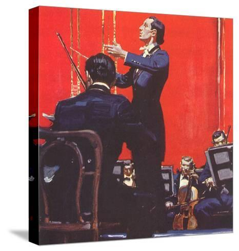 Conducting Orchestra-Mead Schaeffer-Stretched Canvas Print