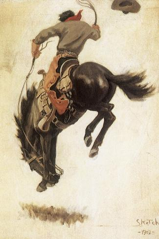 Man on Bucking Bronco, 1902-Newell Convers Wyeth-Stretched Canvas Print