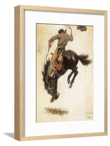 Man on Bucking Bronco, 1902-Newell Convers Wyeth-Framed Art Print