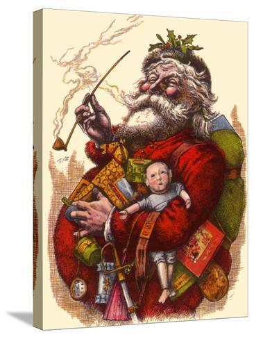 Santa Holds Armful of Toys, 1880-Thomas Nast-Stretched Canvas Print