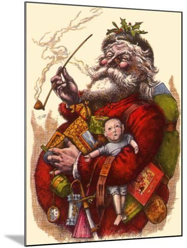 Santa Holds Armful of Toys, 1880-Thomas Nast-Mounted Giclee Print