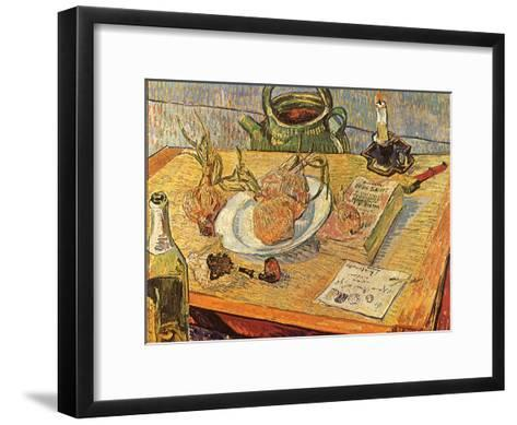 Still Life with Onions and Drawing Table, 1889-Vincent van Gogh-Framed Art Print
