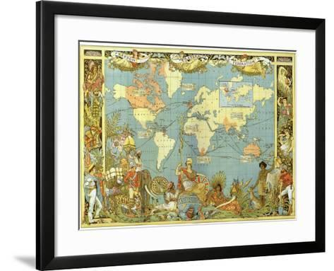 Map of the British Empire in 1886-Walter Crane-Framed Art Print