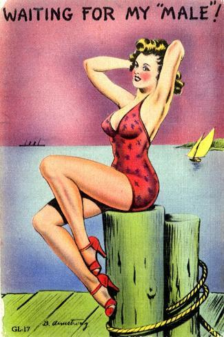 Pin-Up on the Dock of the Bay, 1945--Stretched Canvas Print