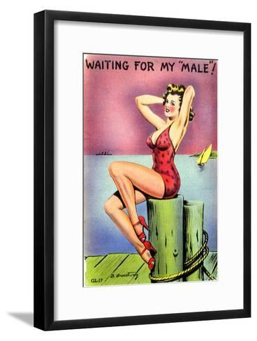 Pin-Up on the Dock of the Bay, 1945--Framed Art Print
