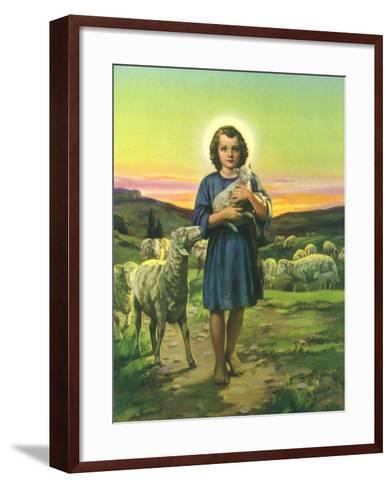 Jesus Holding Lamb--Framed Art Print