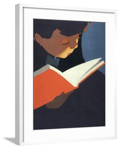 Boy Reading, 1925--Framed Art Print