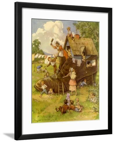 Old Woman, Kids and Shoe, 1944--Framed Art Print
