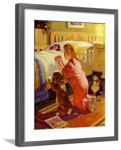 Praying Child and Dog, 1941--Framed Art Print