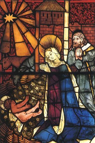 Stained Glass Nativity, 1443--Stretched Canvas Print