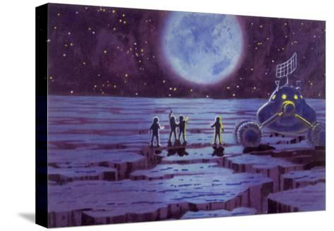 Sci Fi - Spacemen on Blue Alien Planet, 1966--Stretched Canvas Print