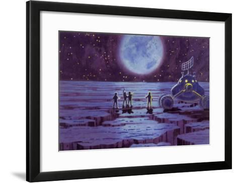 Sci Fi - Spacemen on Blue Alien Planet, 1966--Framed Art Print