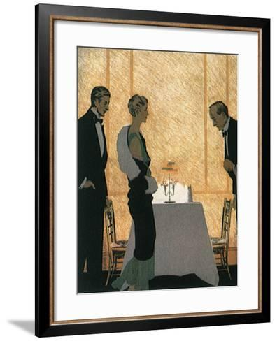 Waiter Seats Couple--Framed Art Print