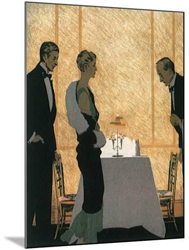 Waiter Seats Couple--Mounted Giclee Print