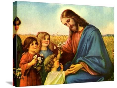 Jesus and Children--Stretched Canvas Print