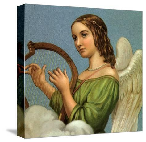 Angel Playing Harp--Stretched Canvas Print