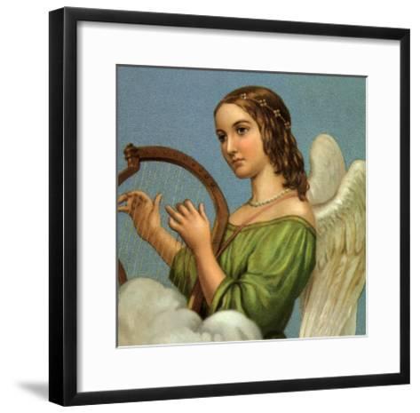 Angel Playing Harp--Framed Art Print