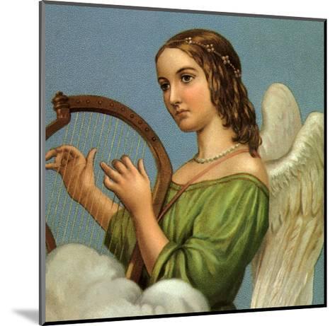 Angel Playing Harp--Mounted Giclee Print