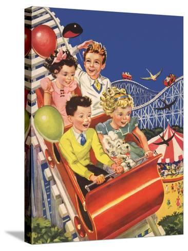 Kids on Roller Coaster--Stretched Canvas Print