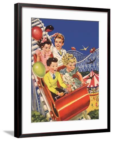 Kids on Roller Coaster--Framed Art Print