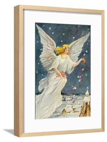 Angel Dropping Flowers--Framed Art Print