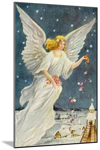 Angel Dropping Flowers--Mounted Giclee Print