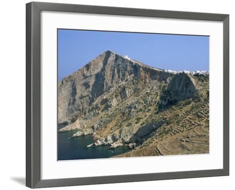 Chapel and Khora, Main Village Perched on Edge of Cliffs, Folegandros, Cyclades, Greece-Richard Ashworth-Framed Art Print