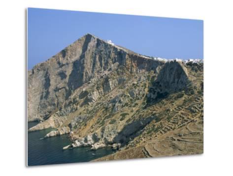 Chapel and Khora, Main Village Perched on Edge of Cliffs, Folegandros, Cyclades, Greece-Richard Ashworth-Metal Print