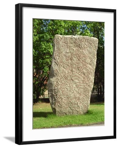 Rune Stone in Grounds of Uppsala Cathedral, Sweden, Scandinavia, Europe-Richard Ashworth-Framed Art Print