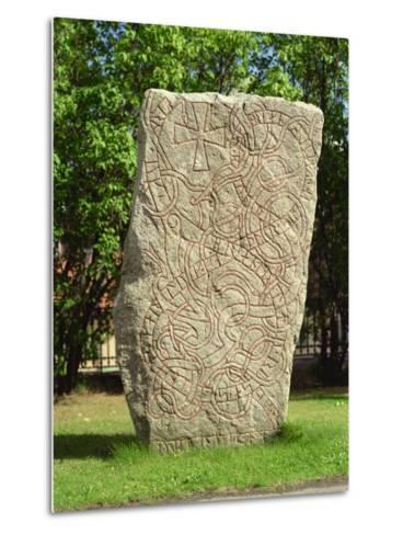 Rune Stone in Grounds of Uppsala Cathedral, Sweden, Scandinavia, Europe-Richard Ashworth-Metal Print