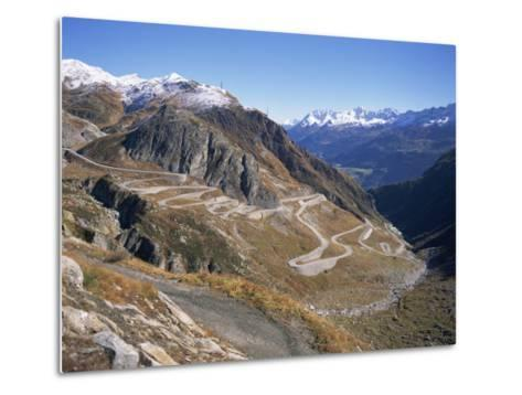 St. Gotthard Pass, with First Autumn Snow on the Mountains, in Ticino, Switzerland-Richard Ashworth-Metal Print
