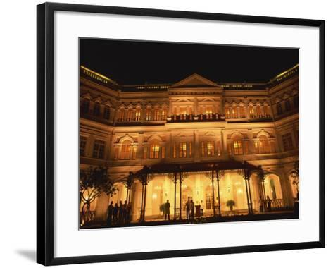 Facade of the Raffles Hotel at Night in Singapore, Southeast Asia-Steve Bavister-Framed Art Print