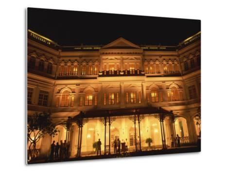 Facade of the Raffles Hotel at Night in Singapore, Southeast Asia-Steve Bavister-Metal Print