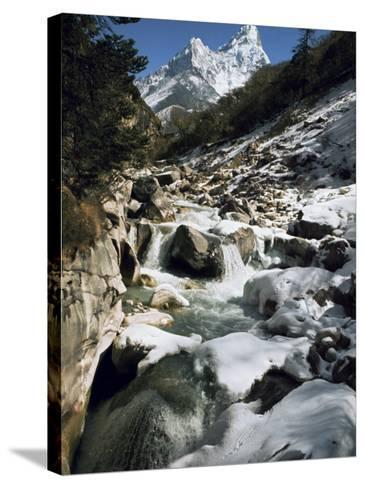 Mountain Stream and Peaks Beyond, Himalayas, Nepal-David Beatty-Stretched Canvas Print
