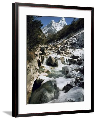 Mountain Stream and Peaks Beyond, Himalayas, Nepal-David Beatty-Framed Art Print