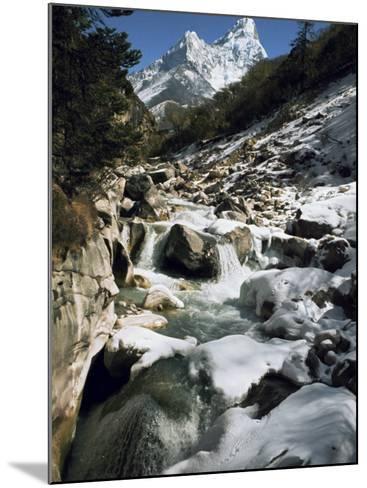Mountain Stream and Peaks Beyond, Himalayas, Nepal-David Beatty-Mounted Photographic Print