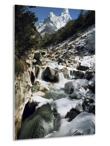 Mountain Stream and Peaks Beyond, Himalayas, Nepal-David Beatty-Metal Print