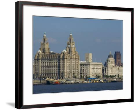 Thethree Graces and Cathedral from the River Mersey Ferry, Liverpool, Merseyside, England, UK-Charles Bowman-Framed Art Print