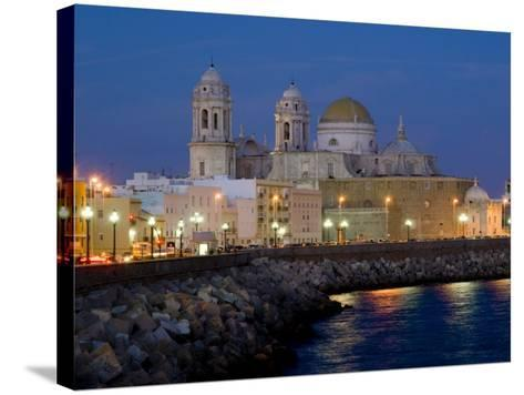 Cathedral Waterfront Dusk, Cadiz, Andalucia, Spain, Europe-Charles Bowman-Stretched Canvas Print
